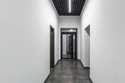 white empty corridor for room office in interior of modern apartments, office or clinic