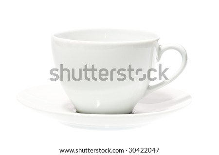 White empty cup isolated on white.