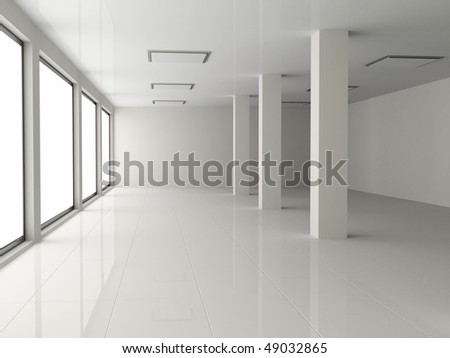 white empty hall with pillar