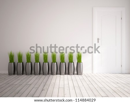 white empty interior with a door and green grass in vases