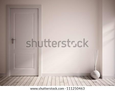 white empty interior with a white door