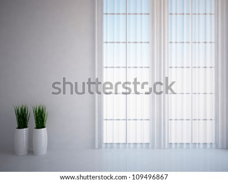 white empty interior with grass and curtains