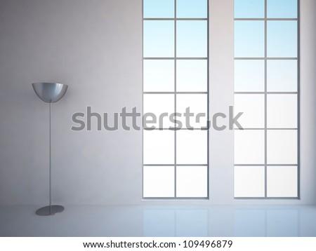 white empty interior with lamp