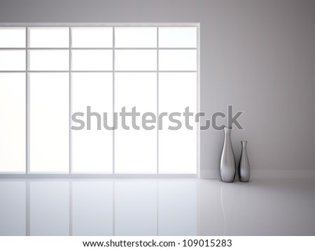 white empty interior with vases