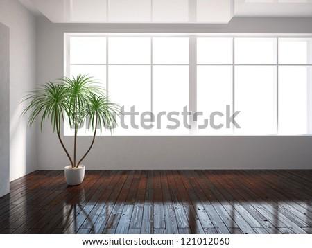 white empty interior with window