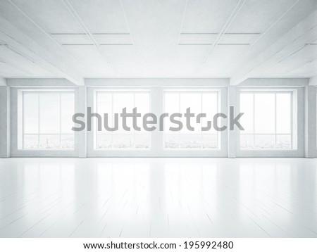 White empty loft interior
