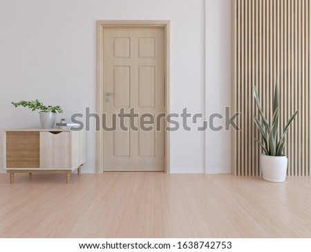 White empty minimalist room interior with door, dresser, vase on a wooden floor, decor on a large wall, white landscape in window. Background interior. Home nordic interior. 3D illistration Foto d'archivio ©