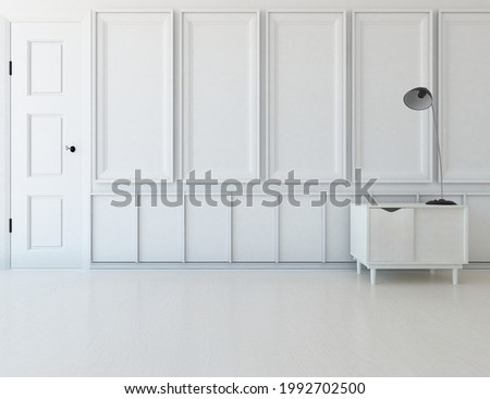 White empty minimalist room interior with dresser on a wooden floor, decor on a large wall, white landscape in window. Background interior. Home nordic interior. 3D illustration