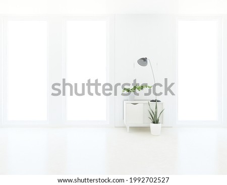 White empty minimalist room interior with dresser on a wooden floor, decor on a large wall, white landscape in windows. Background interior. Home nordic interior. 3D illustration