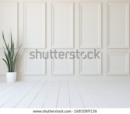 White empty minimalist room interior with vase on a wooden floor, decor on a large wall, white landscape in window. Background interior. Home nordic interior. 3D illustration