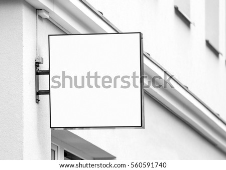 White empty outdoor business signage mock up to add company logo #560591740