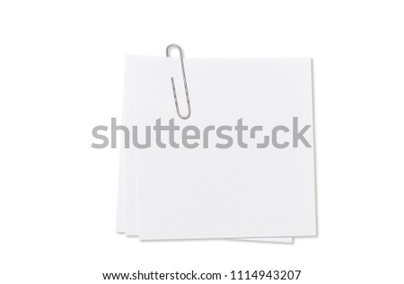 White empty paper sheet with paperclip