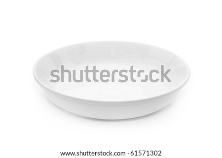 White empty plate over a white background.