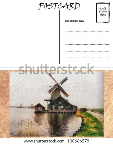 White Empty Postcard Template with Dutch Windmill Image