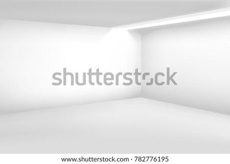 Shutterstock White empty room. 3d modern blank interior. home background. House room blank, illustration of interior empty white studio room