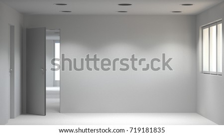 White empty room modern space interior 3d rendering and sunlight