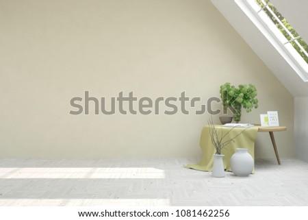 White empty room. Scandinavian interior design. 3D illustration #1081462256
