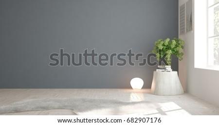 White empty room. Scandinavian interior design. 3D illustration #682907176