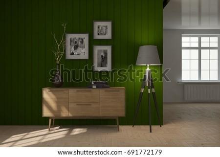 White empty room. Scandinavian interior design. 3D illustration #691772179
