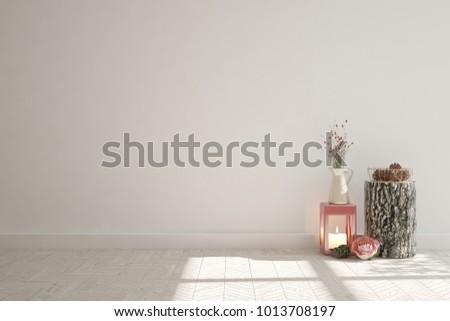 White empty room with decor. Scandinavian interior design. 3D illustration #1013708197
