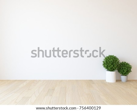 White empty scandinavian room interior. Nordic interior. 3d illustration