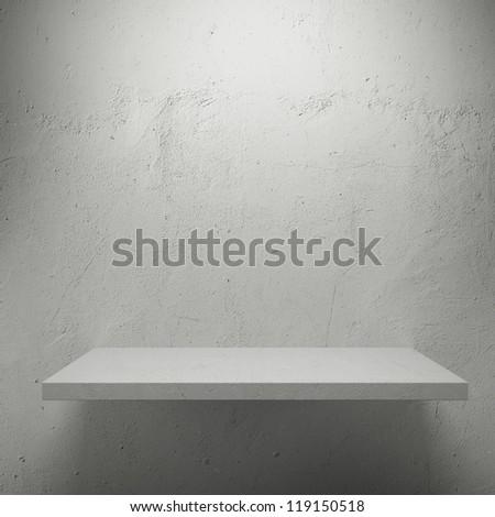White empty shelf for exhibit