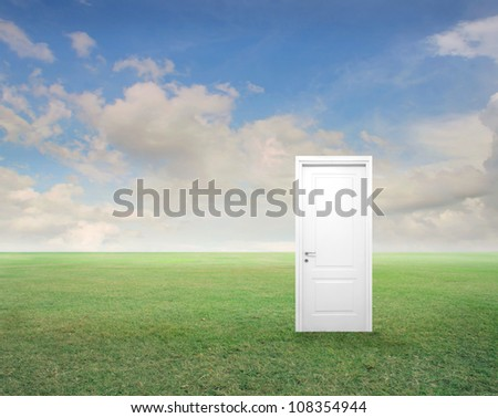 White entrance door in the middle of a green meadow - stock photo