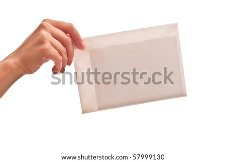 White envelope in woman's hand. Isolated on white - stock photo