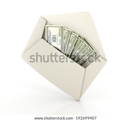 white envelope with money - dollar banknotes. 3d illustration isolated on white background