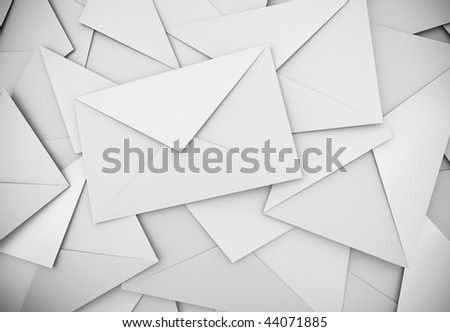 White envelopes background; 3D rendered image.