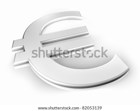 White euro sign on white background, shine and reflection, 3d render