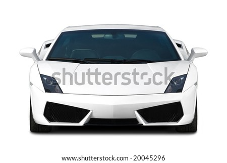 White exclusive supercar isolated on white. Front view.