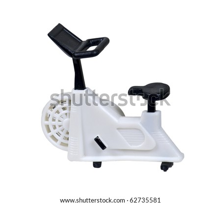 White exercise bike used for non-transport peddling for health fitness - path included