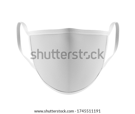 White Face Mask Mockup front view, Blank dust mask 3d rendering isolated on white background