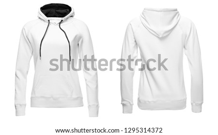 White female hoodie sweatshirt long sleeve with clipping path, women hoody with hood for your design mockup for print, isolated on white background. Template sport clothes. #1295314372