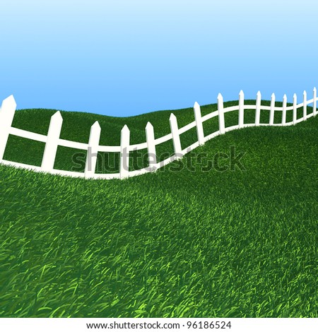 White fence on green grass background