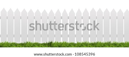 White fence with green grass isolated on white with clipping path - Shutterstock ID 108545396