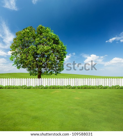 White fences on green grass and a big tree behind