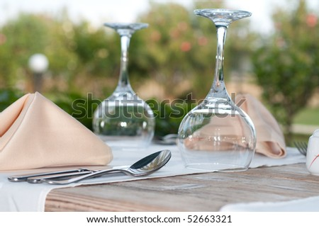 White Fine  Table Setting. summer