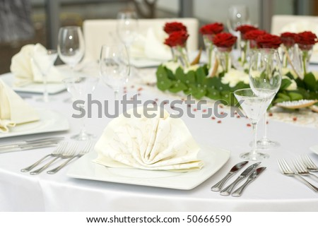 stock photo White Fine Wedding Table Setting