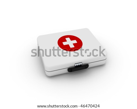 White first aid kit isolated on white background. High quality 3d render.