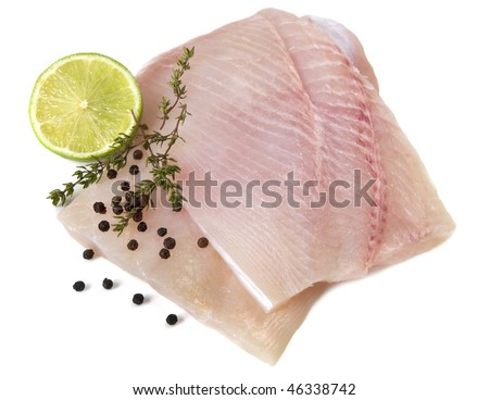 White fish fillets ready for cooking with lemon thyme for Cooking white fish