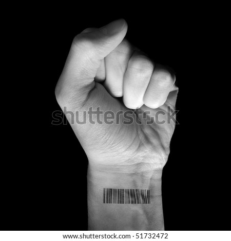 White fist raising his clenched fist with a bar code printed on his wrist.