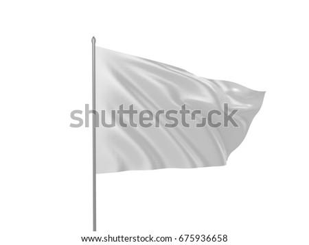 White flag isolated 3d illustration #675936658