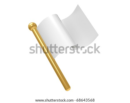 White flag isolated on a white background