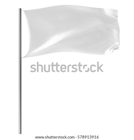 White flag on flagpole flying in the wind empty mock-up, flag isolated on white background. Blank Mock-up for your design projects, 3d rendering #578913916