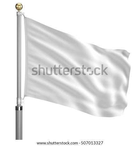 White flag on flagpole waving in the wind isolated on white. 3d render #507013327
