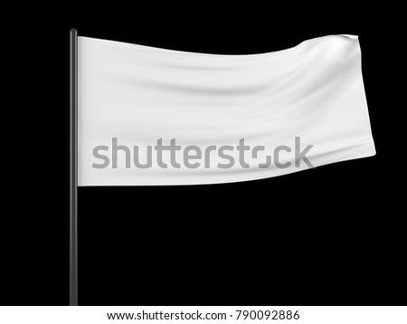 White flag template. Clean horizontal waving flag, isolated on black background. Flag mockup. 3d illustration.