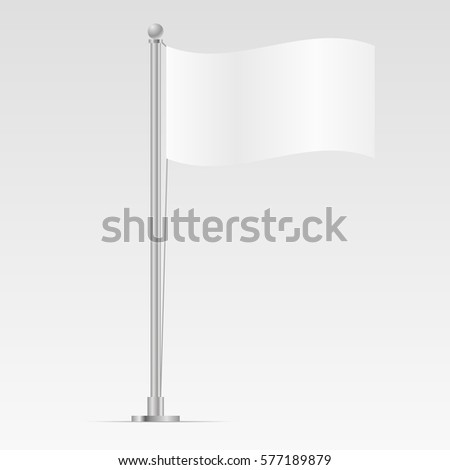 White flag template isolated on background mockup vector illustration  #577189879
