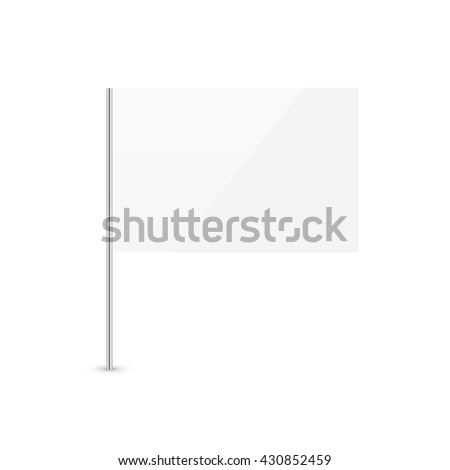 White flag template isolated on white background. Blank empty surrender clean white flag glossy icon. #430852459